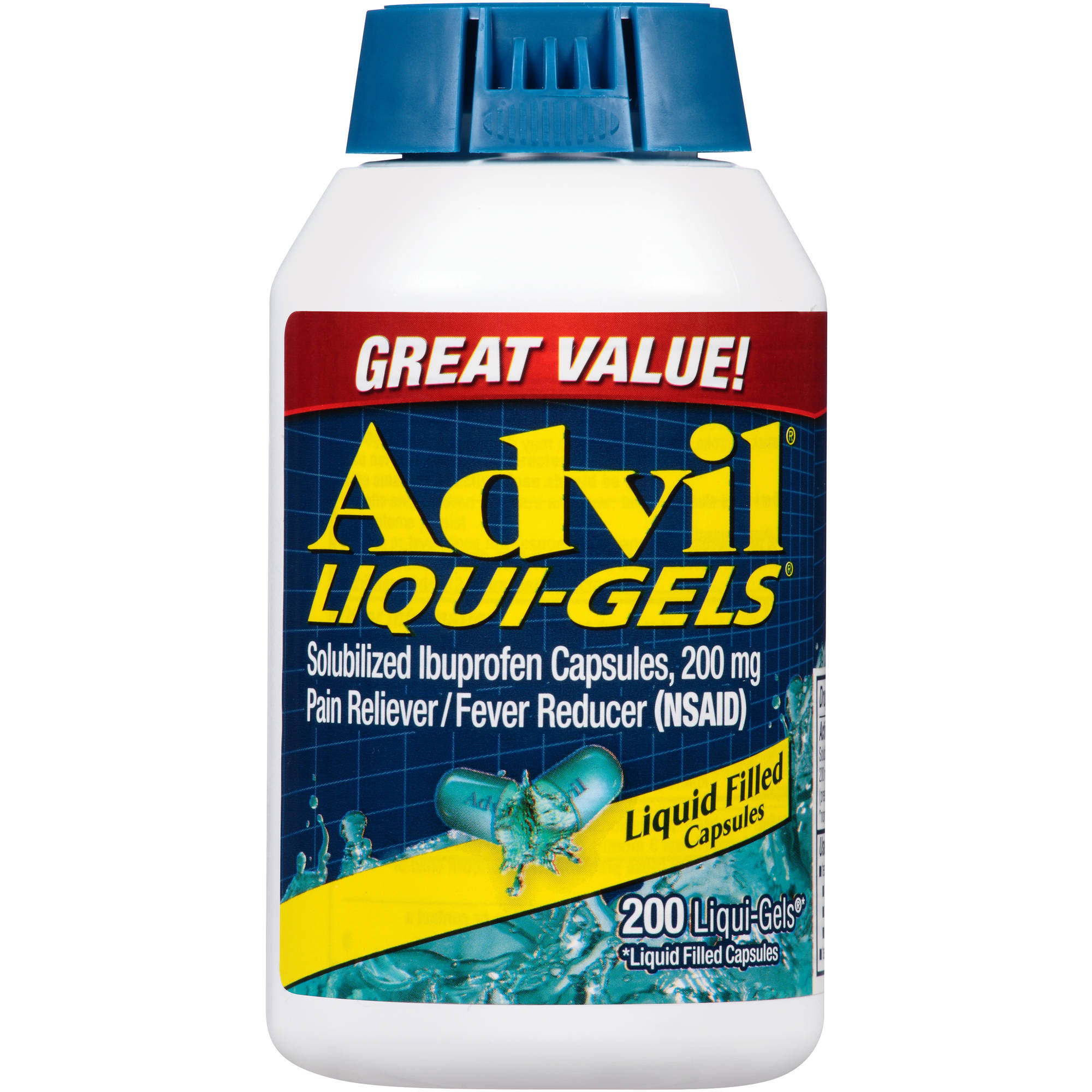 Advil Liqui-Gels Pain Reliever / Fever Reducer (Ibuprofen), 200 mg, 200 Liquid Filled Capsules 200 count