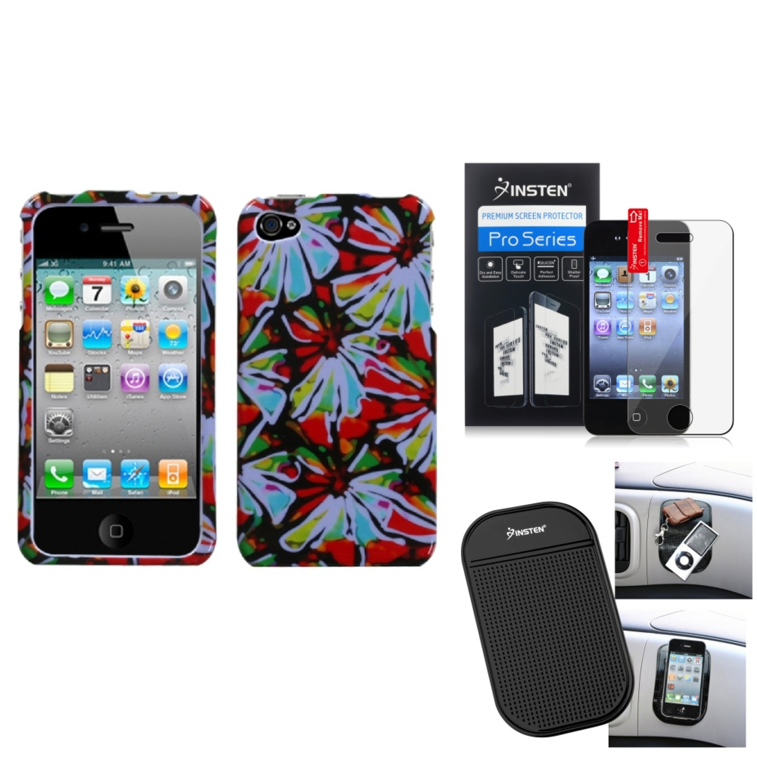 Insten Film+Mat+Flower Power Phone Case Cover For APPLE iPhone 4S/4