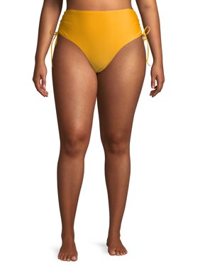 Time and Tru Women's Plus Size Cinch Tie Bikini Swimsuit Bottoms