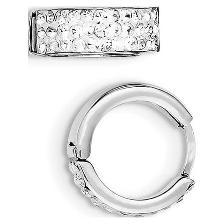 Crystal Hinge - 925 Sterling Silver White Crystal Small Hinged Hoop (15x15mm) Earrings