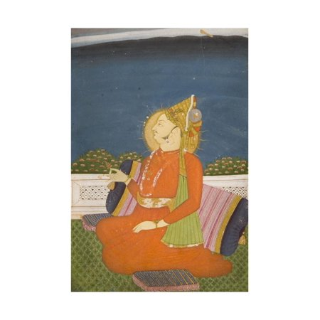 A Bejeweled Dignitary, Wearing a Plumed Turban, Holding a Lotus Bud, Sitting on a Terrace Print Wall Art
