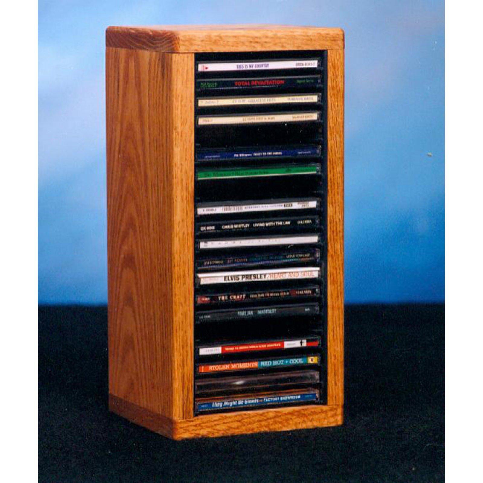 The Wood Shed Solid Oak Desktop / Shelf 20 CD Media Cabinet