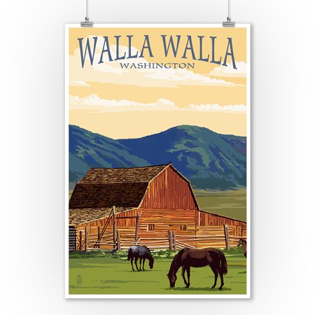 Walla Walla, Washington - Red Barn & Horses - Lantern Press Poster (9x12 Art Print, Wall Decor Travel