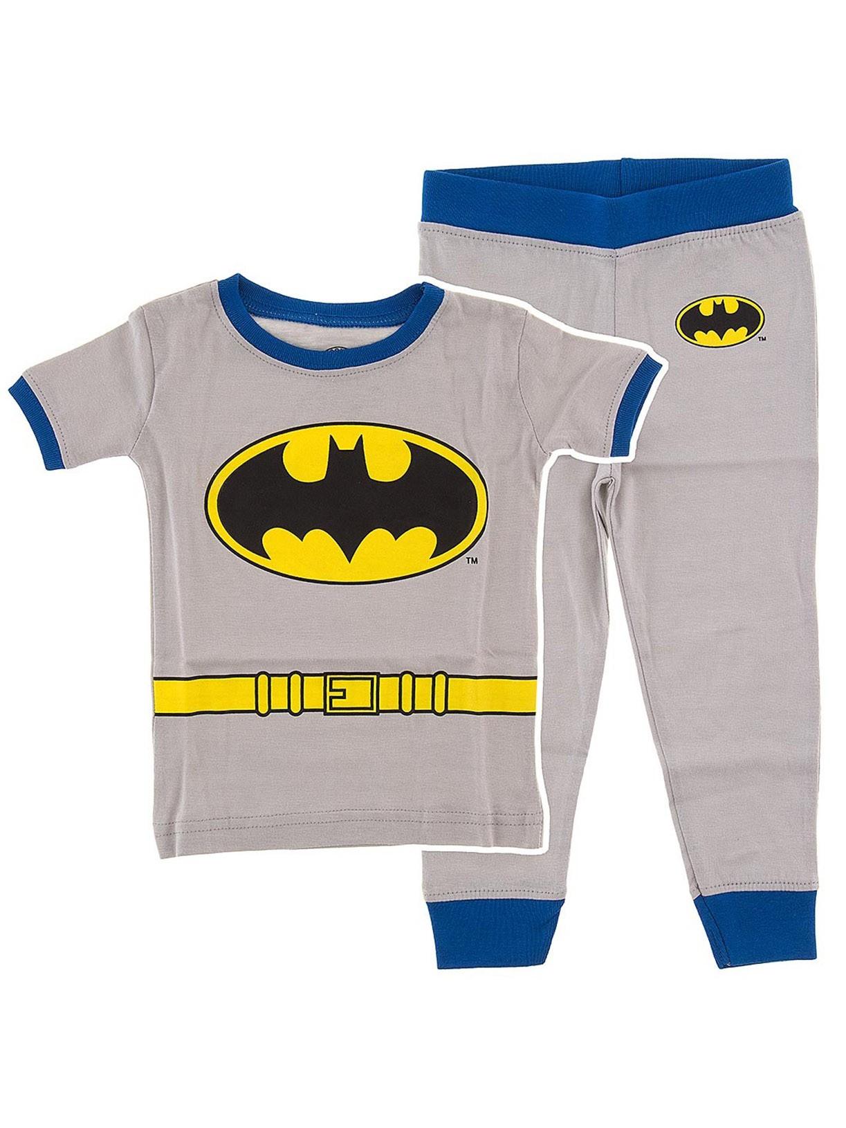Batman Gray Cotton Little Boys Pajamas