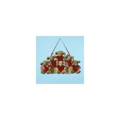 """Club Pack of 12 Bear Family of 6 Christmas Ornaments for Personalization 3.25"""""""