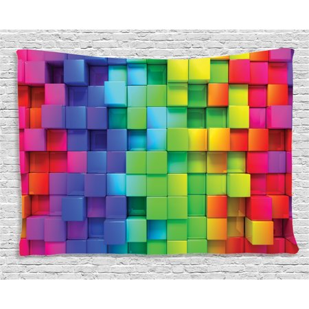 Colorful Home Decor Tapestry, Rainbow Color Contour Display Futuristic Block Brick-Like Geometric Artisan, Wall Hanging for Bedroom Living Room Dorm Decor, 60W X 40L Inches, Multi, by Ambesonne