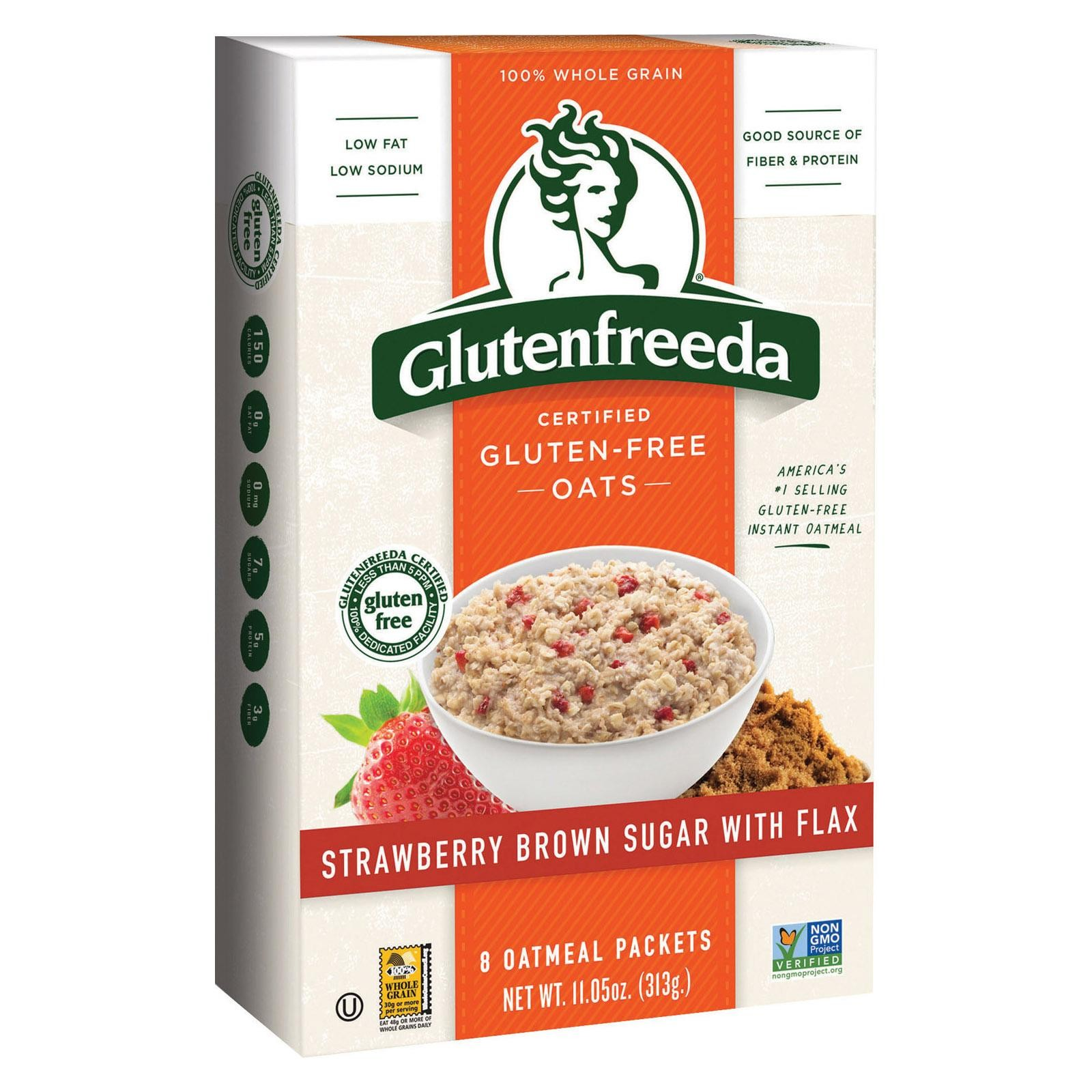 Gluten Freeda Instant Oatmeal - Strawberries And Brown Sugar - Pack of 8 - 10.2 Oz.
