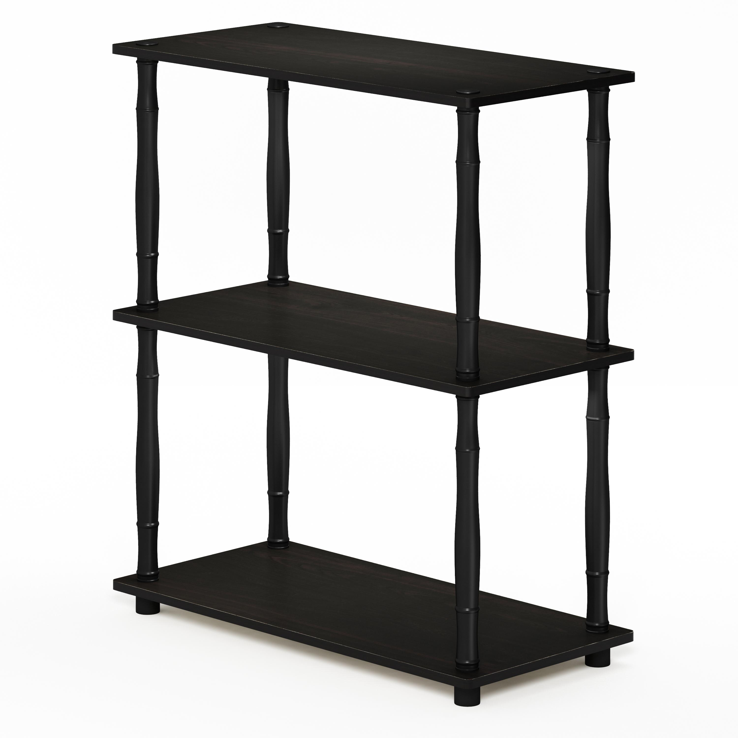 Furinno Turn-N-Tube 3-Tier Compact Multipurpose Shelf Display Rack with Classic Tube, Espresso/Black - image 4 de 4