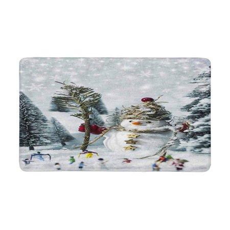POP Snowman and People in Pine Woods During Winter Doormat Non Slip Indoor/Outdoor Floor Mat Home Decor Entrance Rug 30x18 inches - image 3 of 3