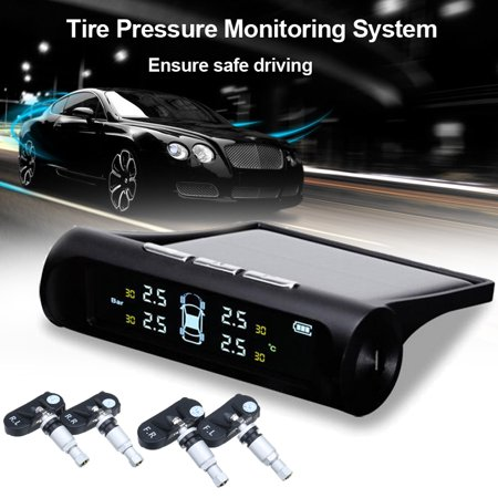 Solar Car Auto TPMS Tire Pressure LCD Monitor System Wireless + 4