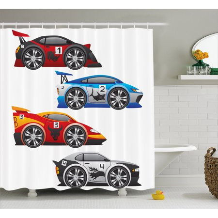 Cars Shower Curtain Collection Of Formula Race Modern Mechanical Technology Automotive Championship Fabric