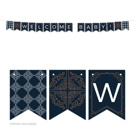Navy Blue Art Deco Vintage Party Baby Shower,  Welcome Baby!, 5-Feet Hanging Pennant Party Banner with String