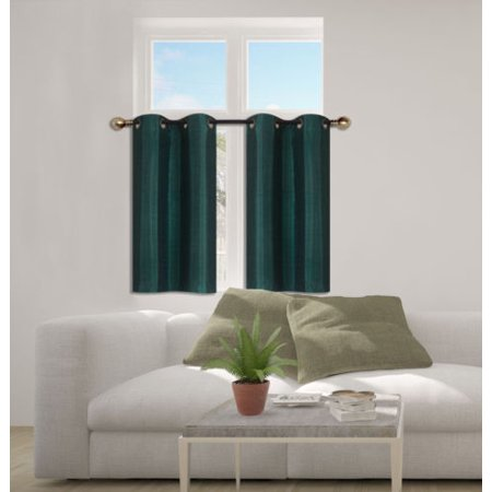 D24 Hunter Green 2 Piece Energy Saving Room Darkening Grommet Top Window Curtain Set  2 Blackout Panels For Short Window