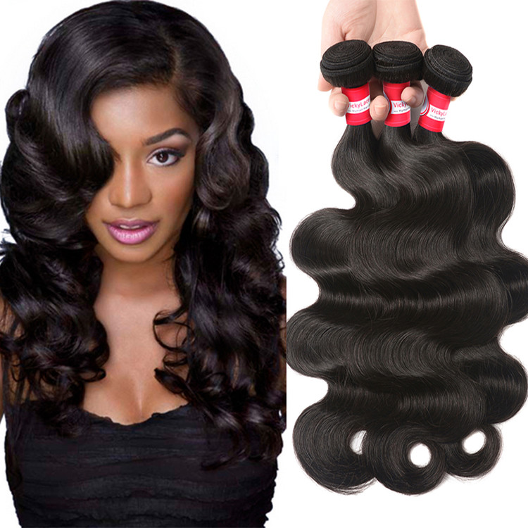 Virgin Human Hair Body Wave 3 Bundles Extensions Natural Color by Dazone