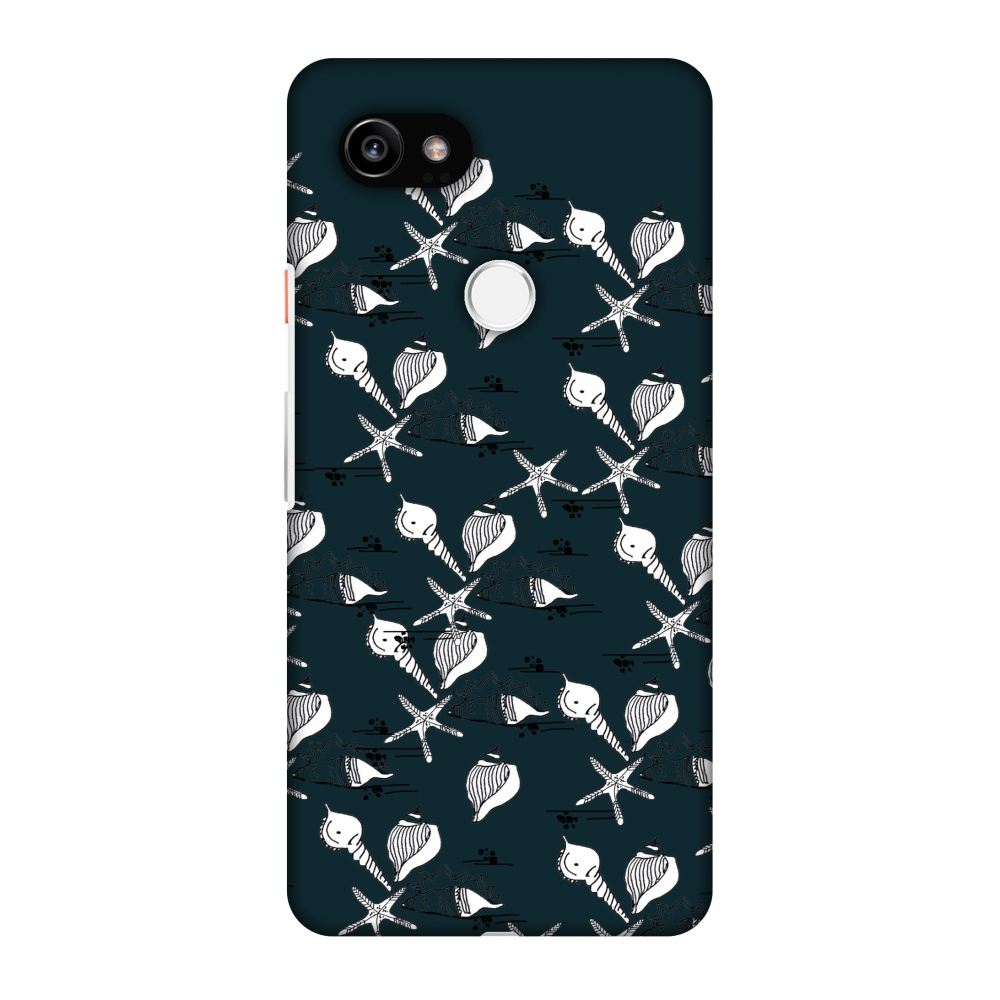 Google Pixel 2 XL Case - Sea Shells Repeat- Rust teal, Hard Plastic Back Cover, Slim Profile Cute Printed Designer Snap on Case with Screen Cleaning Kit