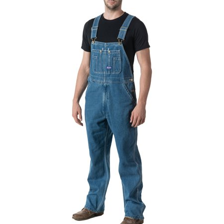 - Men's Stonewashed Denim Bib Overall