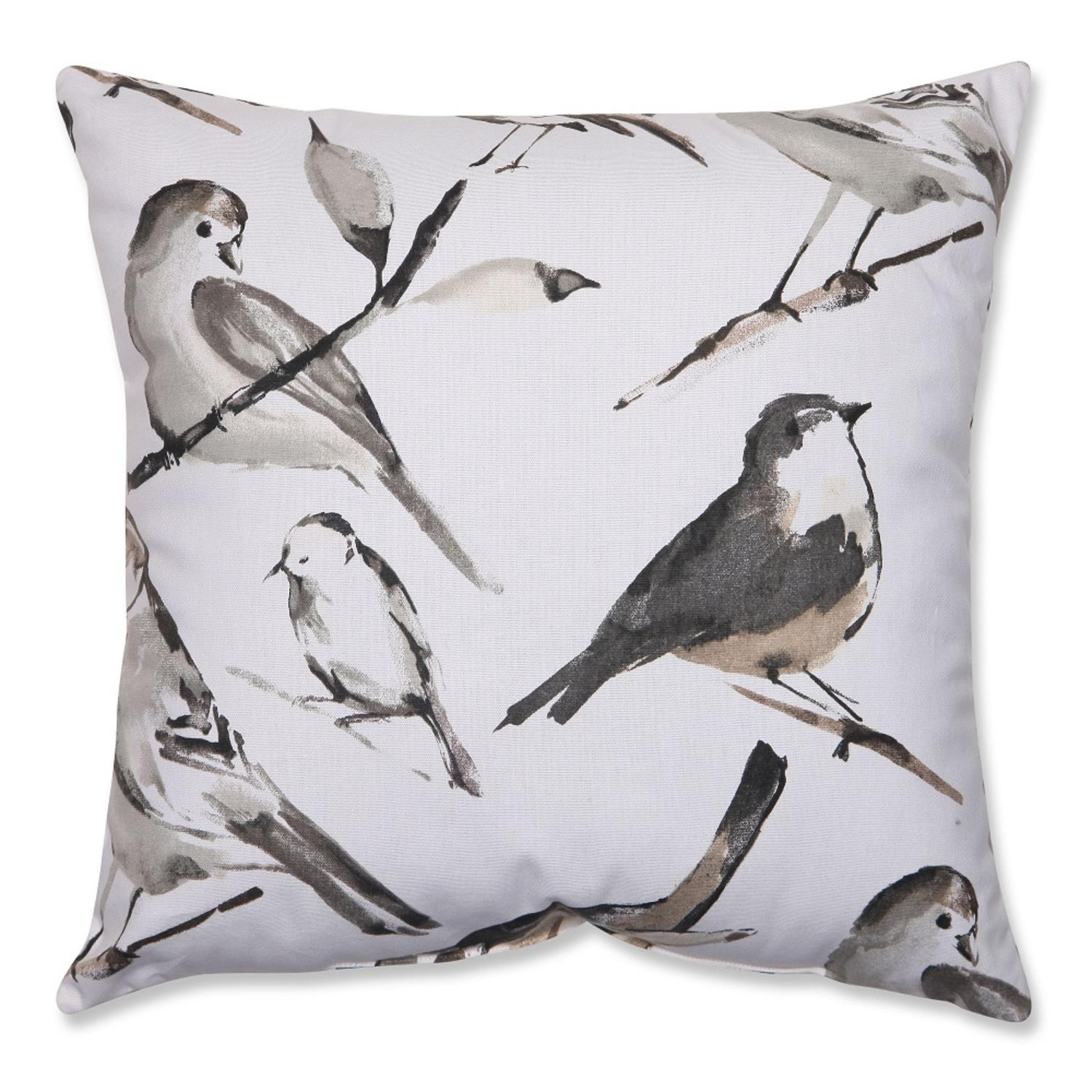 "18"" Gray and Black Bird Lovers Decorative Throw Pillow"