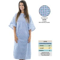 Personal Touch Unisex Hospital Patient Gown Metal Snap IV Sleeves with Telemetry Pocket - Teal Diamonds Print - One Size Pack of 4