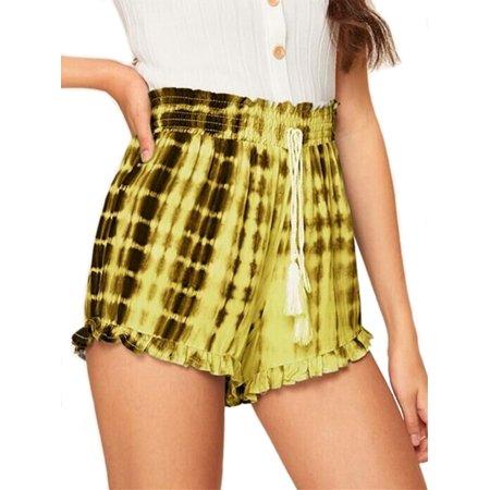 UKAP Womens High Elastic Waist Casual Shorts Bandage Ruffle Printed Pants Drawstring Comfy Chiffon Beach Shorts Plus - Ruffle Pantie Shorts