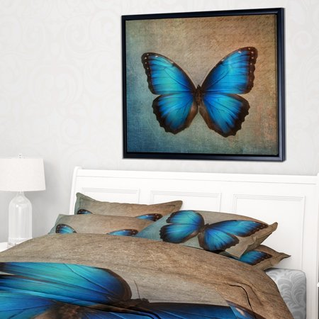Blue Butterfly Designs (DESIGN ART Designart 'Blue Vintage Butterfly' Floral Art Framed Canvas)