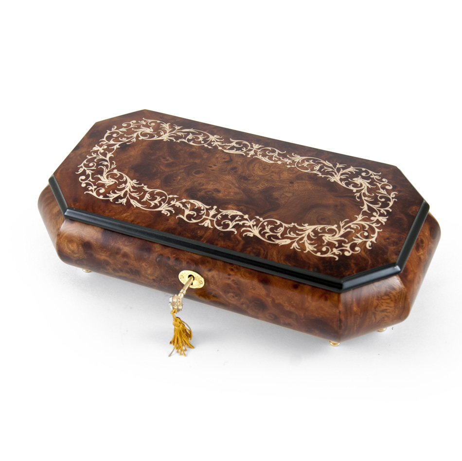 Handcrafted 36 Note Cut-Corner Music Box with Arabesque Wood Inlay Design by MusicBoxAttic