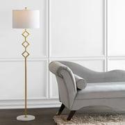 "Diamante 61.5"" Modern Gilt Metal with Marble Based LED Floor Lamp, Gold/Whiteby JONATHAN Y"