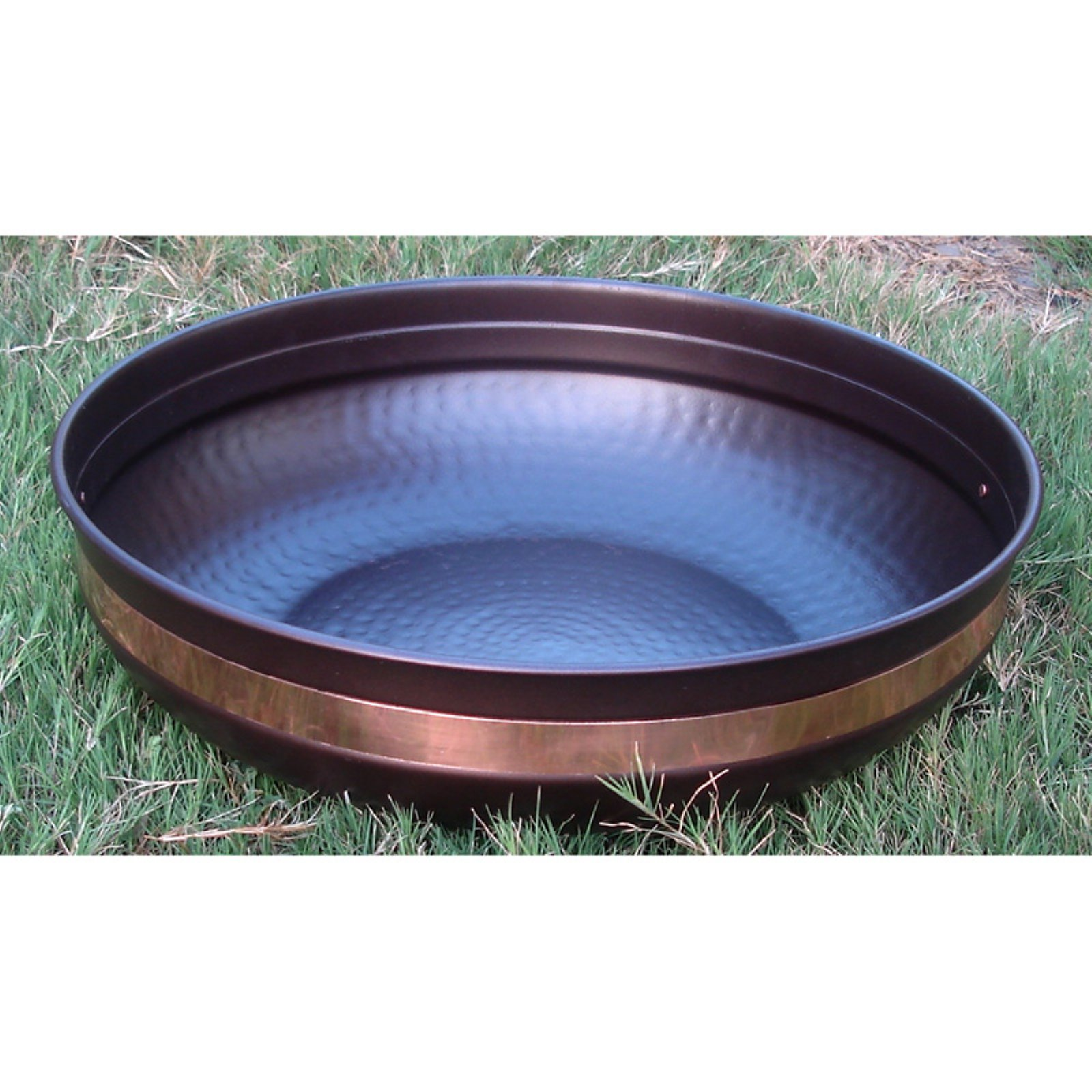 Monarch Hammered Basin with Pure Copper Band - 14.5-Inch Diameter