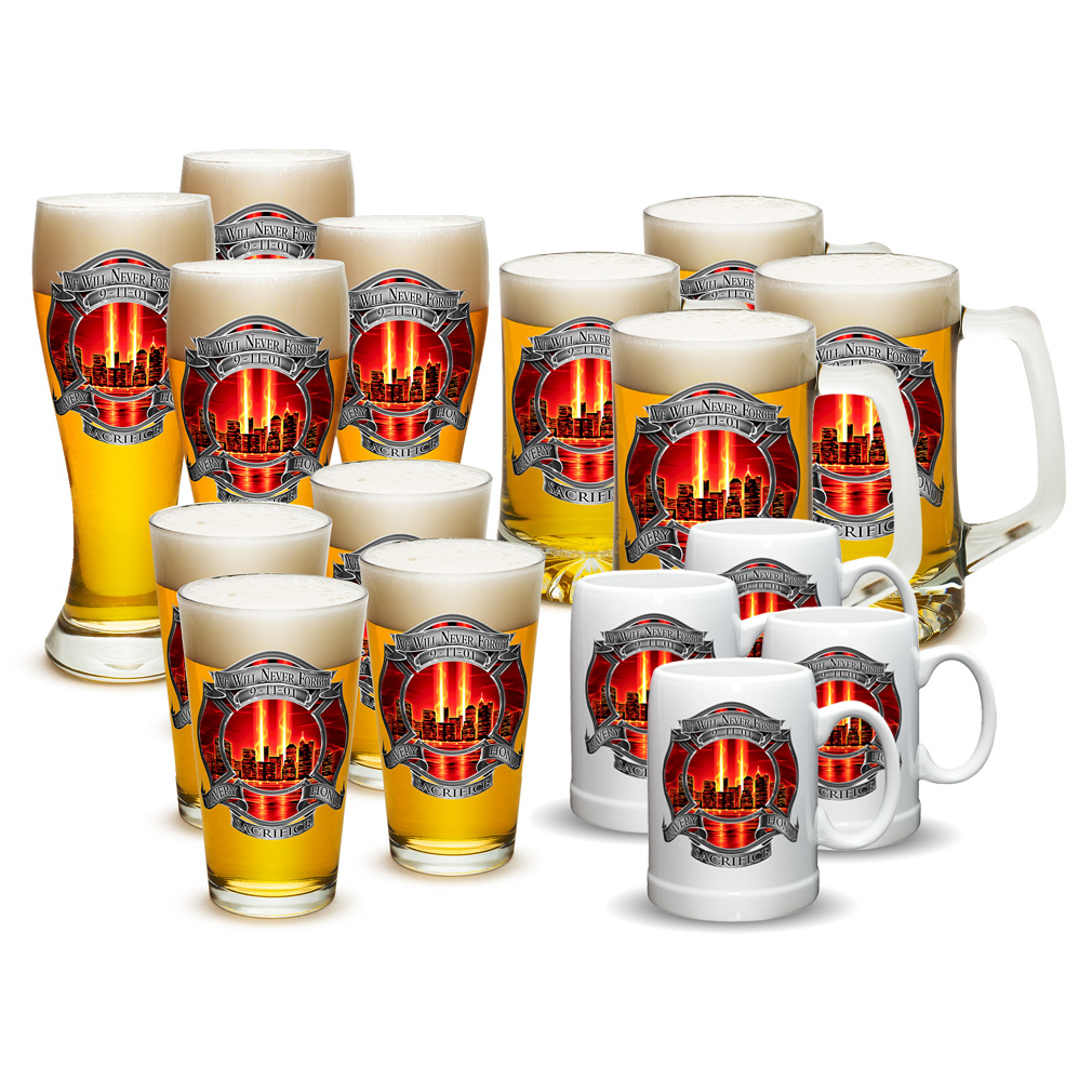 Firefighters We Will Never Forget 09-11-01 Pub Glass/Stein Mug/Beer Mug Set