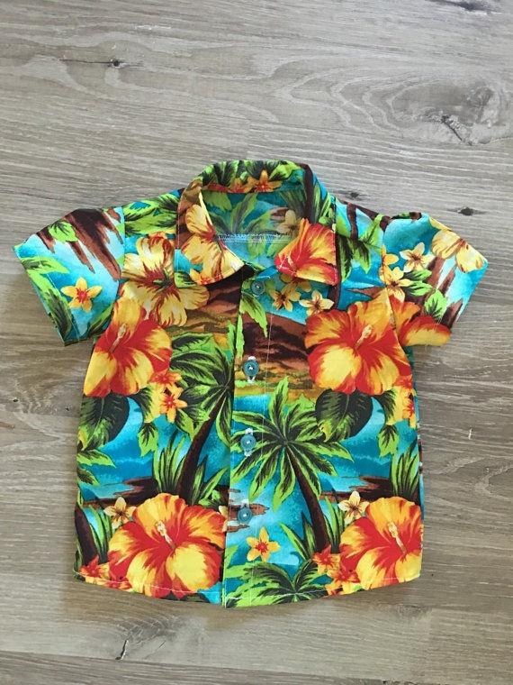 Hawaiian Style Kids Boys Shirts Summer Coconut tree Print Shirt Casual 0-5Y