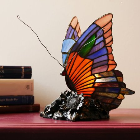 Fleur De Lis Living Crase Butterfly Tiffany Style Stained Glass 9'' Table Lamp - Stained Glass Monarch Butterfly