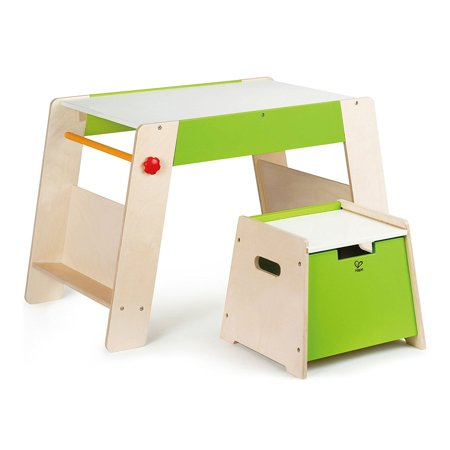 Hape Kids Wooden Play Station & Art Activity Easel Table Set with Stool | E1015 (Wooden Play Table)