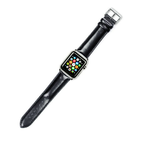 Apple Watch Strap - Smooth Leather Watch Band - Black - Fits 38mm Series 1 & 2 Apple Watch [Black Adapters]