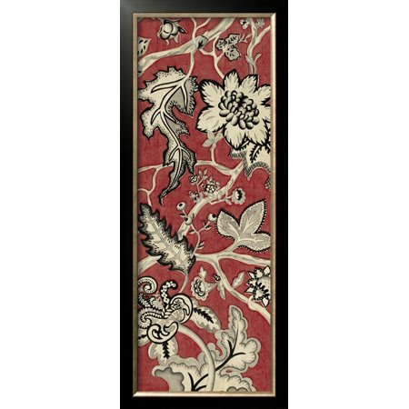 Crimson Embroidery - Crimson Embroidery I Framed Art Print Wall Art  By Chariklia Zarris - 14.5x34.5