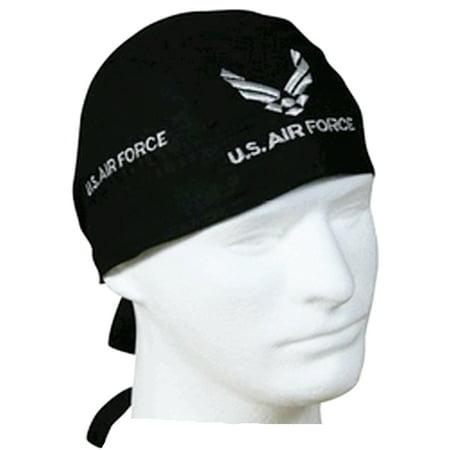 19473967b95f4d Air Force Doo Rag Cap with Sweatband Black Cotton Durag Bandana Headwrap  Mens Womens - Walmart.com
