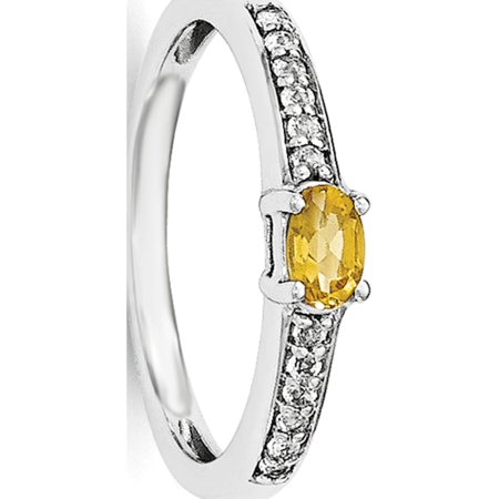 Sterling Silver Rhodium-plated Citrine and White Topaz Ring - image 1 of 2