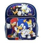 "Medium Backpack - Sonic the Hedgehog - w/Kunckles/Tails 14"" Bag sh30272"