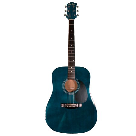 Main Street MA241TBL 41-Inch Acoustic Dreadnought Guitar With Transparent Blue Finish