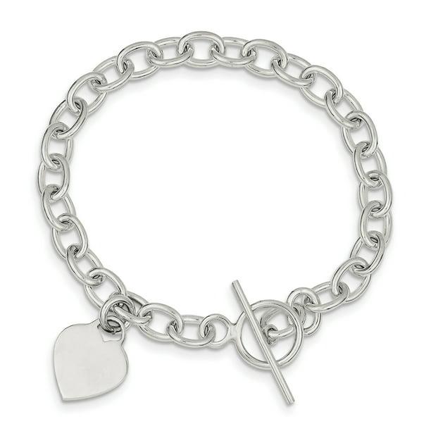 925 Sterling Silver Dangling Heart Charm Bracelet W/charm Fine Jewelry...