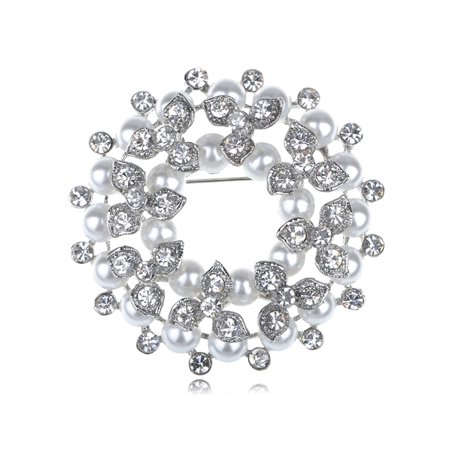 Crystal Faux Brooch - Faux Pearl Bead Clear Crystal Rhinestone Wreath Winter Reef Holiday Pin Brooch