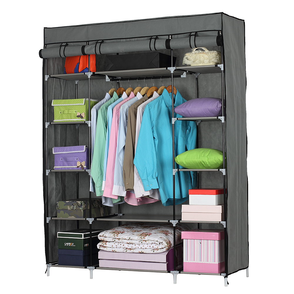 ktaxon portable closet wardrobe clothes rack storage organizer with shelf gray storage. Black Bedroom Furniture Sets. Home Design Ideas