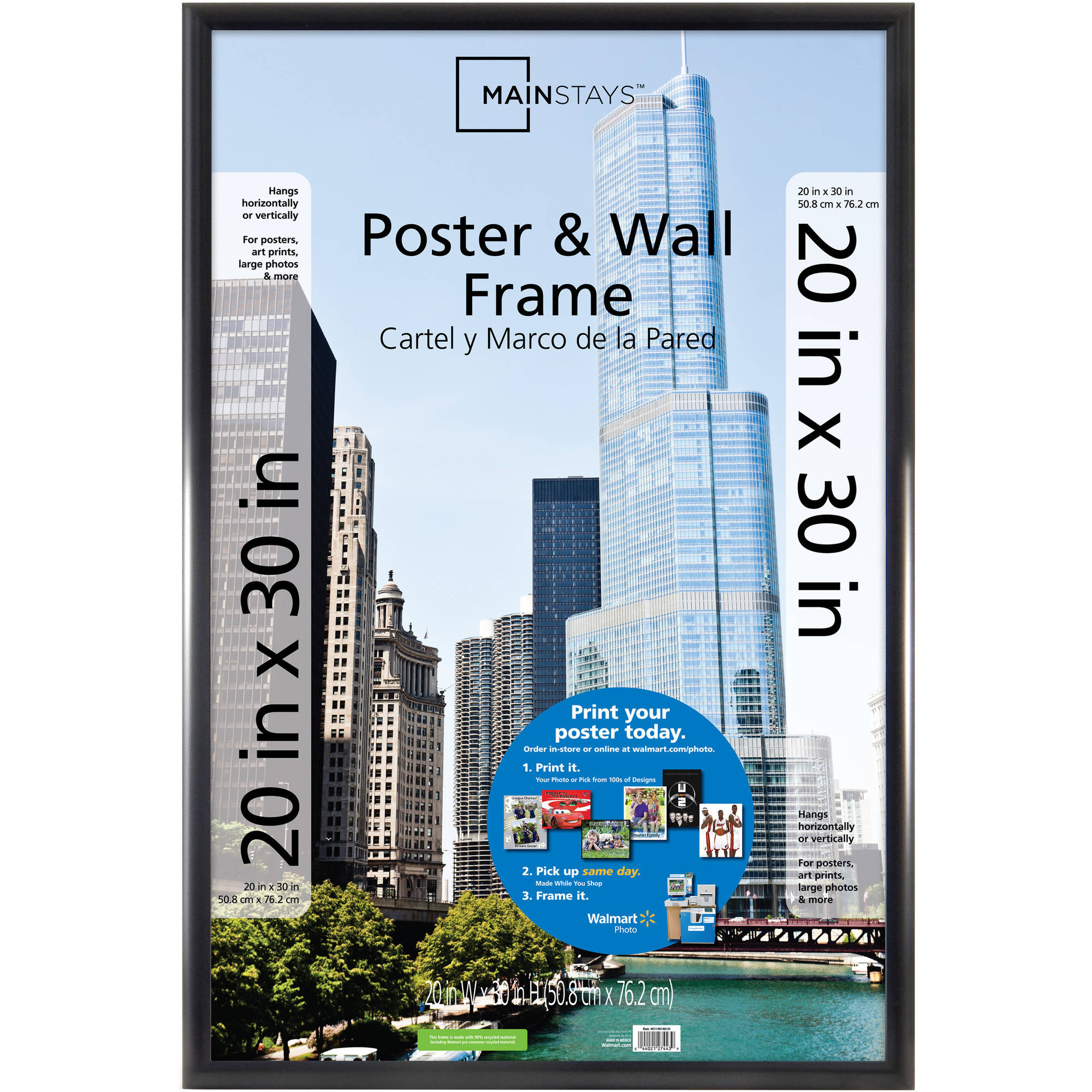 Mainstays 20x30 Trendsetter Poster and Picture Frame, Matte Black