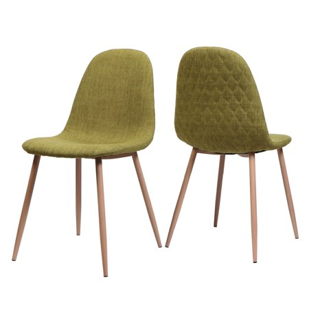Camden Mid Century Fabric Dining Chairs with Light Walnut Wood Finished Legs, Set of 2, Green (Camden Camel)
