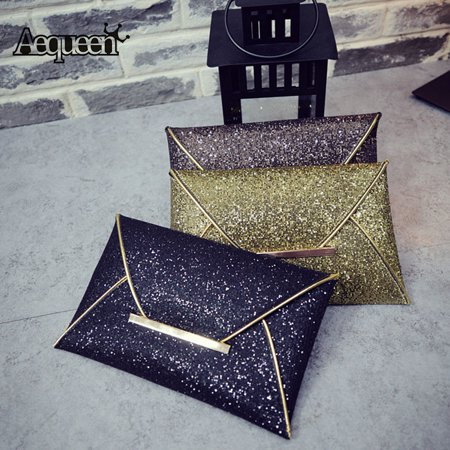 New Fashion Design Women Evening Party Leather Sequins Envelope Bag Purse Clutch Handbag
