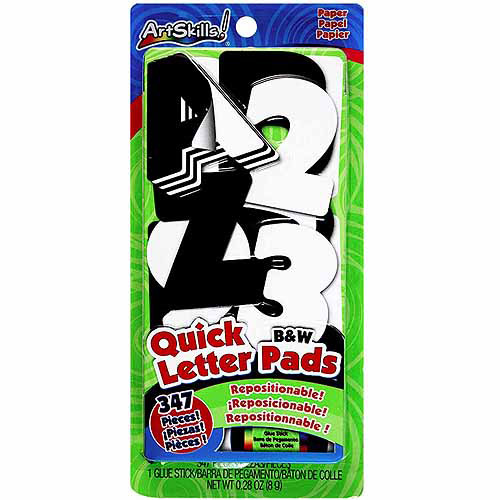 Artskills Quick Letter/Number Pads Repositionable With Glue Stick, Black & White, 347pc