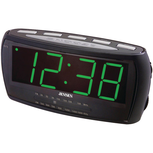 Jensen JCR-208 AM/FM Alarm Clock Radio With Auto Time Set