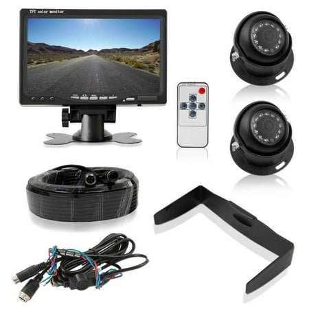 PYLE PLCMTR7250 - Upgraded LCD Backup Camera Vehicle Mount with Weatherproof, (2) 170 Degree Adjustable Angle, Night Vision Cams, Color Video Security System for Truck, Vans, Cars ()