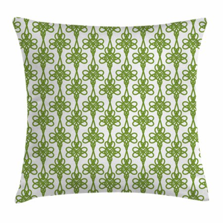 Irish Throw Pillow Cushion Cover, Entangled Clover Leaves Twigs Celtic Pattern Botanical Filigree Inspired Retro Tile, Decorative Square Accent Pillow Case, 16 X 16 Inches, Green Cream, by -