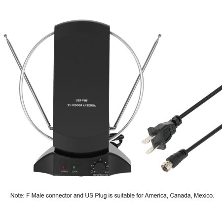 LAN-1014 Amplified HDTV Antenna Indoor Digital TV Antenna 50 Mile Range 36dB UHF / VHF / FM Signal with Power Supply for HDTV / DTV / FM Receiver F Connector -