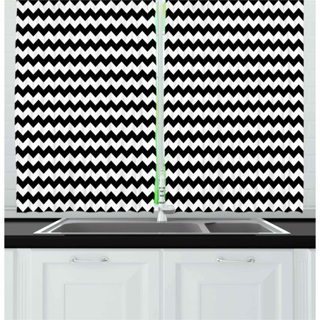 Chevron Curtains 2 Panels Set, Zig Zags in Black and White Sharp Arrow Inspired Classic Retro Tile Monochrome, Window Drapes for Living Room Bedroom, 55W X 39L Inches, Black White, by Ambesonne ()