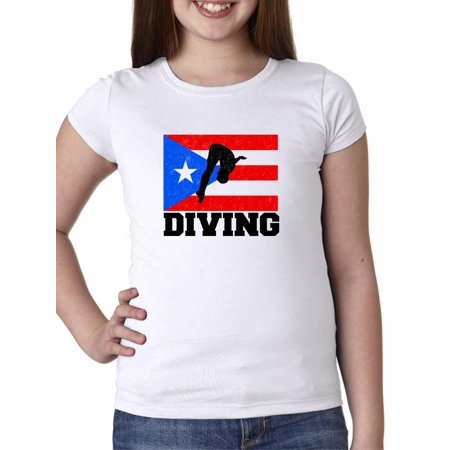 Puerto Rico Olympic - Diving - Flag Girl's Cotton Youth (Best Diving In Puerto Rico)